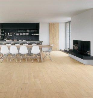 Carrelage aspect parquet nivault for Parquet salon et carrelage cuisine