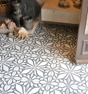 carrelage aspect carreau ciment Decor Classic Noir C