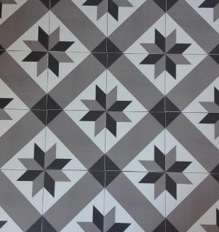 Carrelage aspect carreau ciment nivault - Carreaux en gres cerame avec un motif carreaux de ciment ...